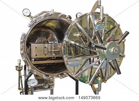 Close up black autoclave hole of autoclavesterilization machine for hospital isolated on white background.Saved with clipping path.