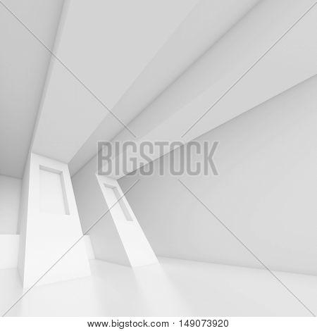 3d Illustration of White Column Interior Design. Modern Architecture Background