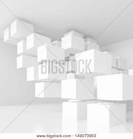 3d Illustration of White Modern Architecture Background. Abstract Building Construction. Minimal Geometric Shapes Design