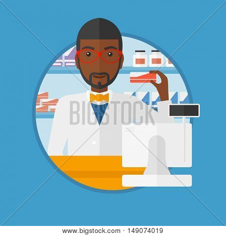 An african-american young pharmacist standing at the counter and showing some medicine. Male pharmacist holding a box of pills. Vector flat design illustration in the circle isolated on background.