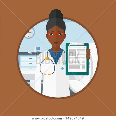 An african-american doctor showing clipboard with prescription. Doctor standing with clipboard in hospital room with MRI machine. Vector flat design illustration in the circle isolated on background.