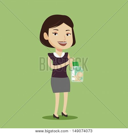 Happy caucasian business woman holding money jar with coins and banknotes. Young business woman putting dollar money into glass jar. Vector flat design illustration. Square layout.