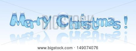 Merry Christmas banner with ice letters. Vector illustration