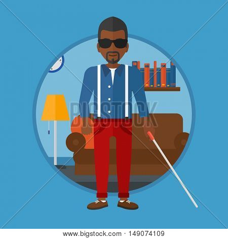 An african-american blind man standing with walking stick. Young man in dark glasses with cane standing in the living room. Vector flat design illustration in the circle isolated on background.