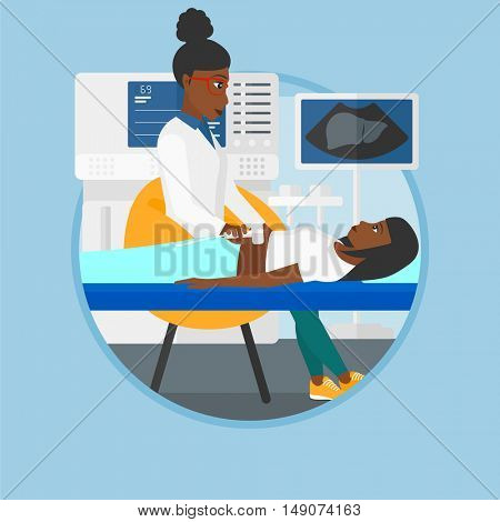 An african-american doctor examining internal organs of a patient on the ultrasound. Doctor working on modern ultrasound equipment. Vector flat design illustration in the circle isolated on background