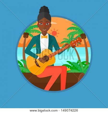 An african-american woman sitting on log and playing an acoustic guitar. Guitarist practicing in playing guitar on the beach. Vector flat design illustration in the circle isolated on background.