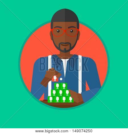 An african-american man making pyramid of network avatars. Man building his social network. Networking and communication concept. Vector flat design illustration in the circle isolated on background.