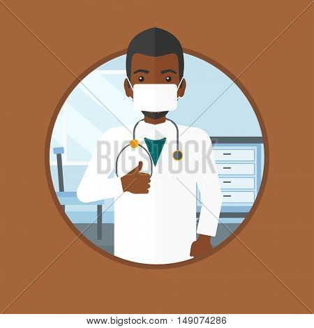 An african-american doctor in mask giving thumbs up. Doctor with thumbs up in the hospital room. Doctor showing thumbs up gesture. Vector flat design illustration in the circle isolated on background.