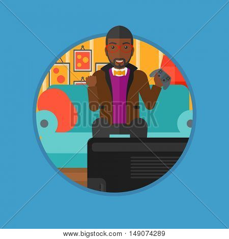 African-american happy gamer playing video game on the television. An excited man with console in hands playing video game at home. Vector flat design illustration in the circle isolated on background