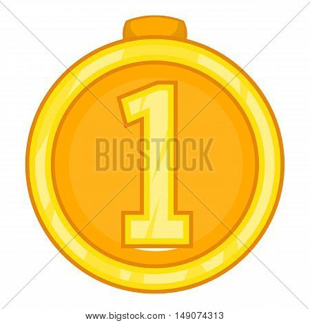 Medal for first place icon in cartoon style isolated on white background. Win symbol vector illustration