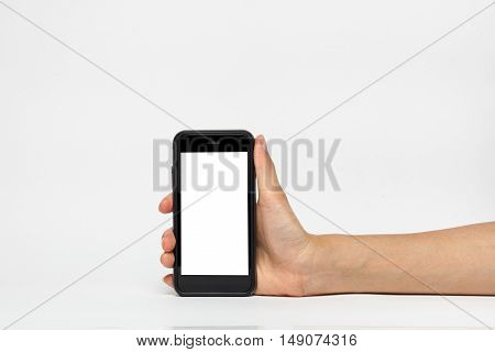 Woman holding smart phone similar to iphone with isolated screen in hand isolated on white.