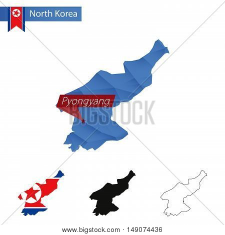 North Korea Blue Low Poly Map With Capital Pyongyang.