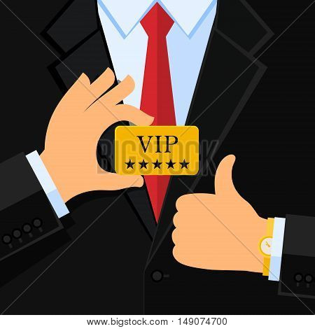 Business man in black suit give thumb up sign and holding a VIP card. Flat design.