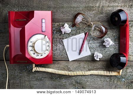 Old Glasses And Vintage Red Phone
