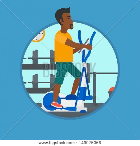 An african-american young man exercising on elliptical trainer. Man working out using elliptical trainer at the gym. Vector flat design illustration in the circle isolated on background.