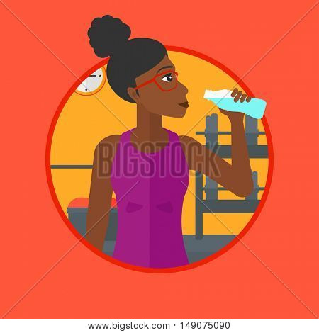 African-american sportive woman drinking water. Woman with bottle of water in the gym. Young woman drinking water from the bottle. Vector flat design illustration in the circle isolated on background.