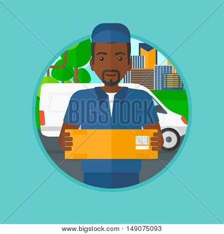An african-american delivery man carrying cardboard box on the background of delivery truck. Delivery man with a box in his hands. Vector flat design illustration in the circle isolated on background.