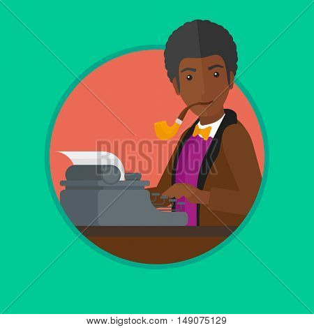 An african-american journalist writing an article on a vintage typewriter and smoking pipe. Man working on retro typewriter. Vector flat design illustration in the circle isolated on background.