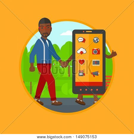 An african-american man walking with a big smartphone. Man and big smartphone in the park. Man holding the hand of smartphone. Vector flat design illustration in the circle isolated on background.