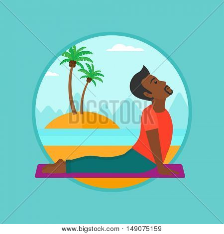 An african-american man practicing yoga upward dog pose. Man meditating in yoga upward dog position on the beach. Man doing yoga. Vector flat design illustration in the circle isolated on background.