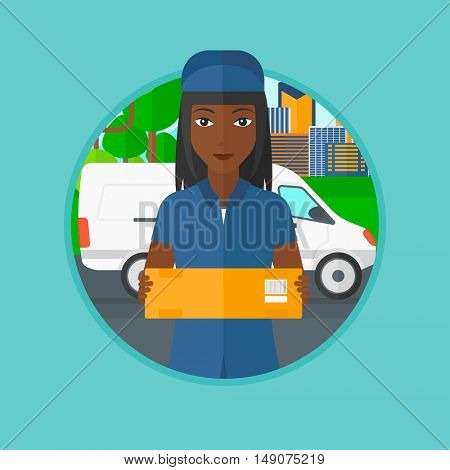An african-american delivery woman carrying cardboard box on the background of delivery truck. Delivery woman with a box in hands. Vector flat design illustration in the circle isolated on background.