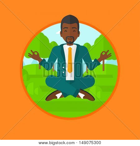 An african-american businessman meditating in yoga lotus position. Businessman relaxing in the park in the lotus position. Vector flat design illustration in the circle isolated on background.