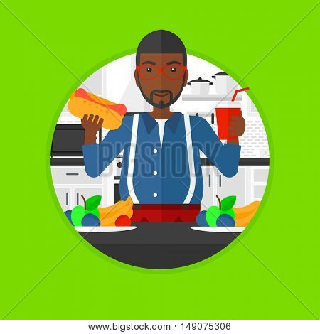 An african-american fat man eating fast food in the kitchen. Young man choosing between fast food and healthy food. Vector flat design illustration in the circle isolated on background.