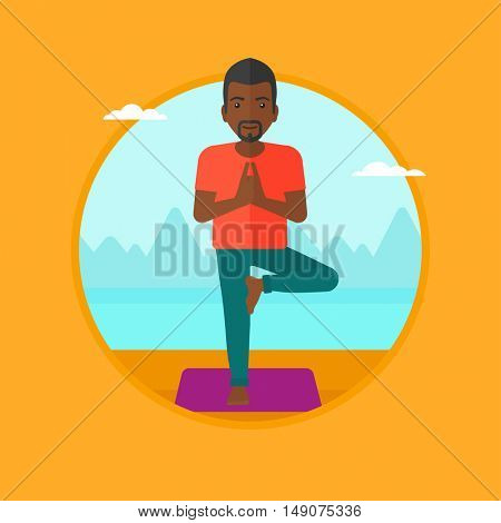 An african-american man standing in yoga tree pose. Man meditating in yoga tree position on beach. Man doing yoga on nature. Vector flat design illustration in the circle isolated on background.
