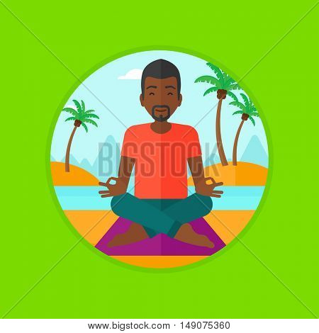 An african-american man meditating in yoga lotus pose on the beach. Young man relaxing on the beach in the yoga lotus position. Vector flat design illustration in the circle isolated on background.