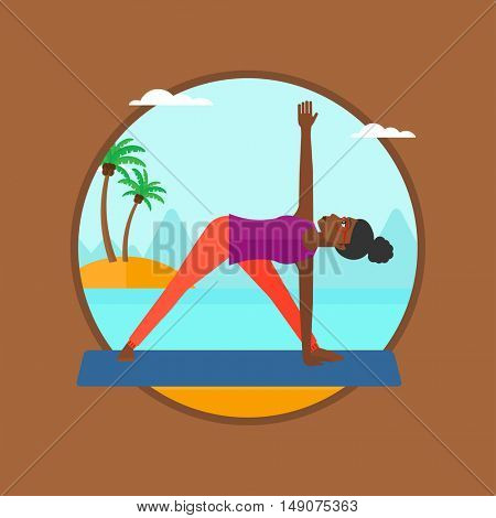 An african-american woman standing in yoga triangle position. Woman meditating in yoga triangle position on beach. Woman doing yoga.Vector flat design illustration in the circle isolated on background