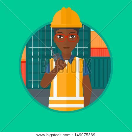 An african-american port worker talking on wireless radio on the background of cargo containers. Port worker using wireless radio. Vector flat design illustration in the circle isolated on background.