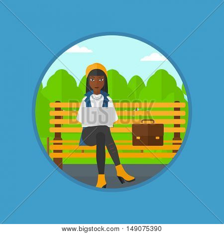 An african-american business woman working in the park. Woman working on a laptop. Business woman sitting on a bench with laptop. Vector flat design illustration in the circle isolated on background.
