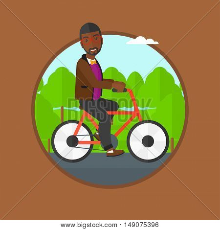 An african-american sportive man riding a bicycle in the park. Young cyclist riding bike outdoors. Healthy lifestyle concept. Vector flat design illustration in the circle isolated on background.