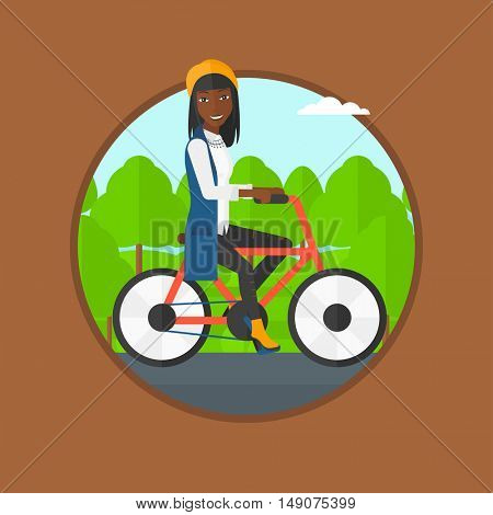 An african-american sportive woman riding a bicycle in park. Young cyclist riding bike outdoors. Healthy lifestyle concept. Vector flat design illustration in the circle isolated on background.
