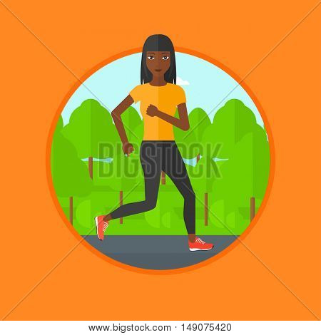 An african-american woman running. Female runner jogging outdoors. Sports woman running in the park. Running woman on forest road. Vector flat design illustration in the circle isolated on background.