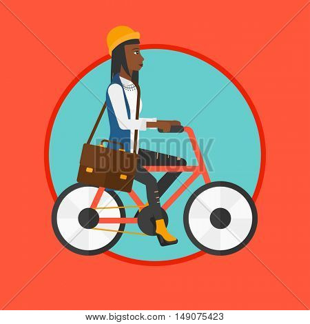 African-american woman riding a bicycle. Cyclist riding bike. Business woman with briefcase on a bike. Healthy lifestyle concept. Vector flat design illustration in the circle isolated on background.