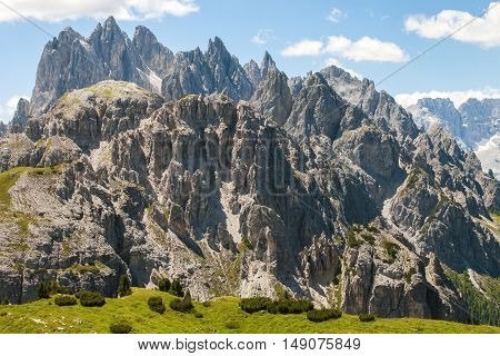 Beautiful landscape on the way from Misurina to Tre Cime di Lavaredo in Dolomites. Mountains in Northern Italy