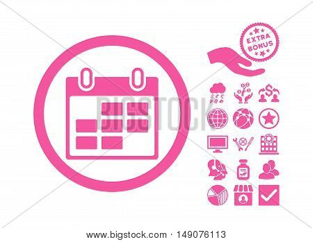 Calendar Days pictograph with bonus icon set. Vector illustration style is flat iconic symbols pink color white background.
