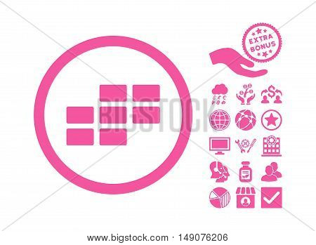 Calendar Grid icon with bonus pictures. Vector illustration style is flat iconic symbols pink color white background.