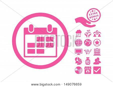 Calendar icon with bonus images. Vector illustration style is flat iconic symbols pink color white background.