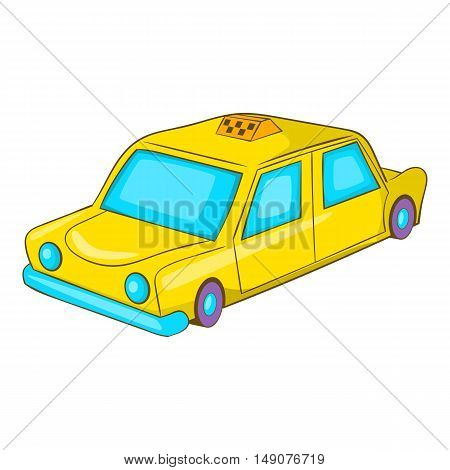 Taxi car icon in cartoon style isolated on white background. Transportation symbol vector illustration