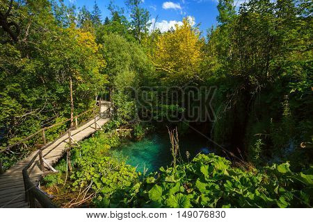 Wooden Walkway in Plitvice Lakes National Park Croatia