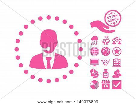 Call Center Operator icon with bonus images. Vector illustration style is flat iconic symbols pink color white background.