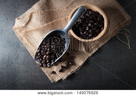 Coffee bean on black stone background, Selective focus