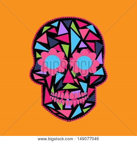 Skull vector background triangle orange and pink