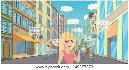 Beacon wireless Technology vector illustration. Shopping services