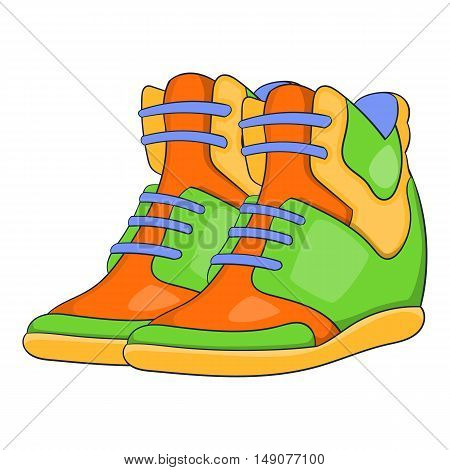 Womens autumn sneakers icon in cartoon style isolated on white background. Shoes symbol vector illustration