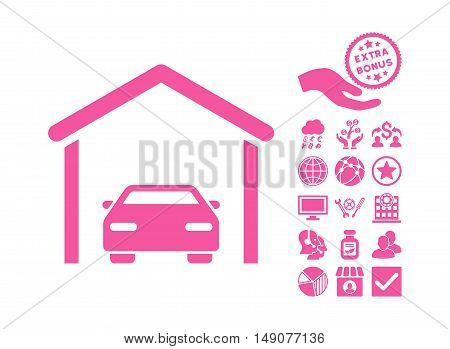 Car Garage icon with bonus elements. Vector illustration style is flat iconic symbols pink color white background.