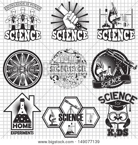 Science vector labels design. Home experiment and science for kids