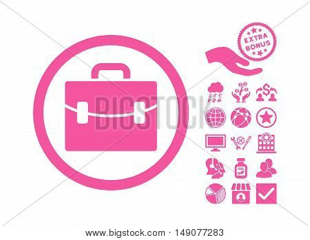 Case icon with bonus icon set. Vector illustration style is flat iconic symbols pink color white background.